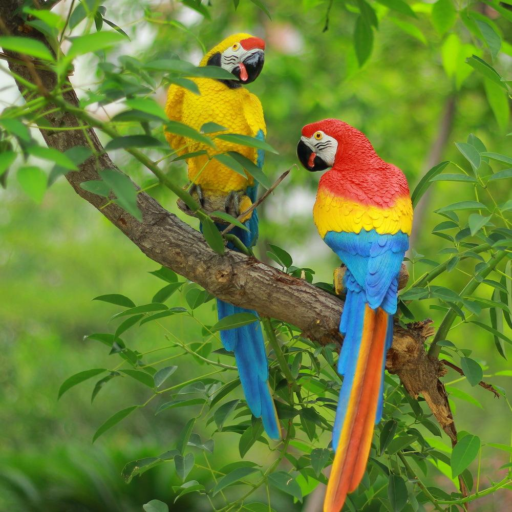 Garden wall ornaments - Parrots Design Resin Crafts Outdoor Garden And Living Room Wall Decoration Colorful Birds Ornaments