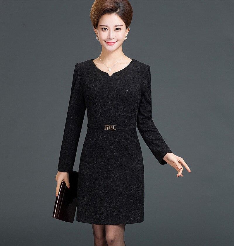 Women Formal Dress 2017 Autumn Elegant Long Sleeves Knee Length