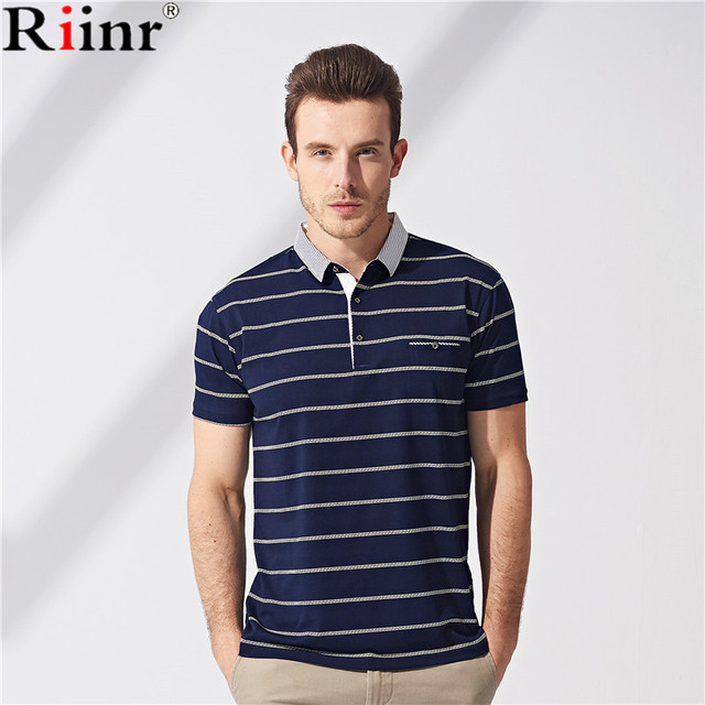ad7b2630e7b Men Polo Shirt 2018 Summer Men Business Casual Breathable White Striped  Short Sleeve Polo Shirt Pure Cotton Work Clothes Polos