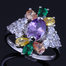 Sublime Plant Multigem Multicolor Yellow Cubic Zirconia White CZ 925 Sterling Silver Ring For Women V0636