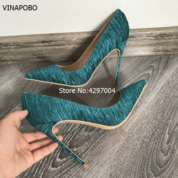 Vinapobo Luxurious Women Dark Green Silk Satin Dress Pumps Stiletto Heels Satin Fabric Banquet Party Shoes Pointed Toe Pumps-in Women's Pumps from Shoes    2