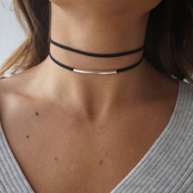 Bending tube Velvet Choker Double layer Style Torque Black Short Leather Necklace 1