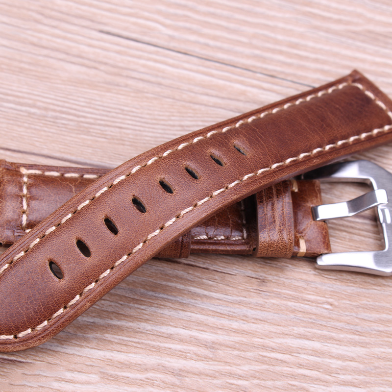Watchbands Retro Genuine Leather Brown Men 20mm 22mm 24mm Soft Watch Band Strap Metal Pin Buckle Accessories Relojes Hombre in Watchbands from Watches