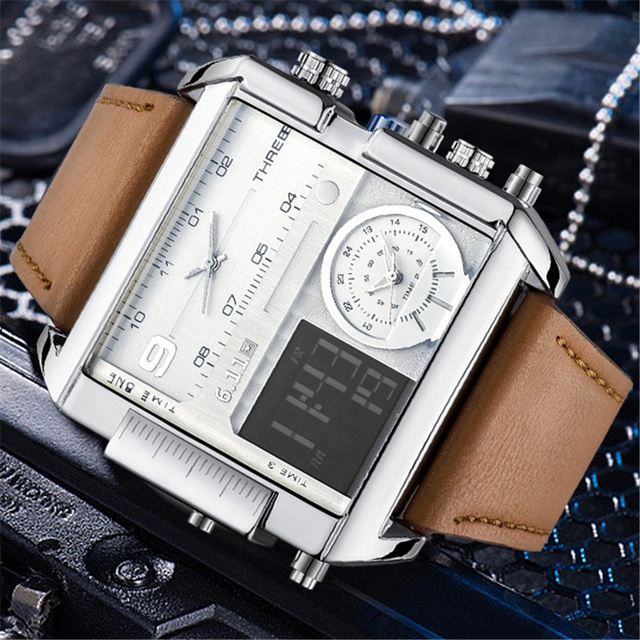 6.11 LED Digital Luxury Men Watch With Dual Time Zone