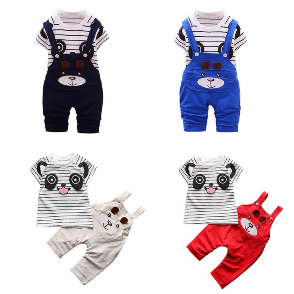 WEIXINBUY 2Pcs Baby Clothes Sets Boys Cotton Cute Cartoon Panda Striped T-shit+Strap Pants For Newborn Infant Girls Clothing toddler boys clothing sets girls outfits striped panda t shirts & overalls 2pcs baby girls tees infants clothes boys pants 9m 4y