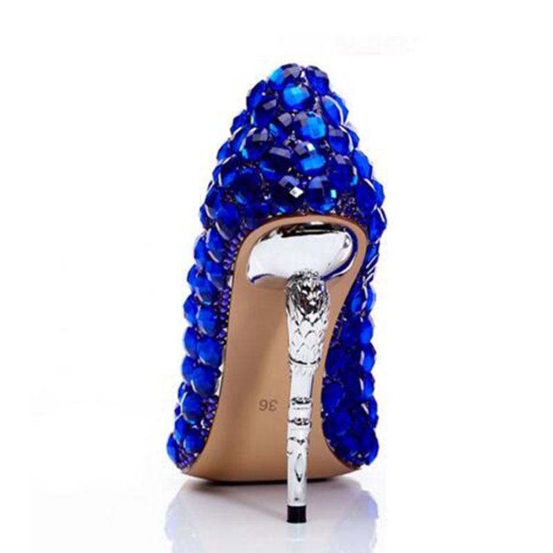 Mince Saphir Partie Royal Pointu Chaussures Cuir En A Bleu Cristal Mariage Bout buybea Sexy Femmes De Hauts Pompes Réel Talons Discothèque ERAgwTPq