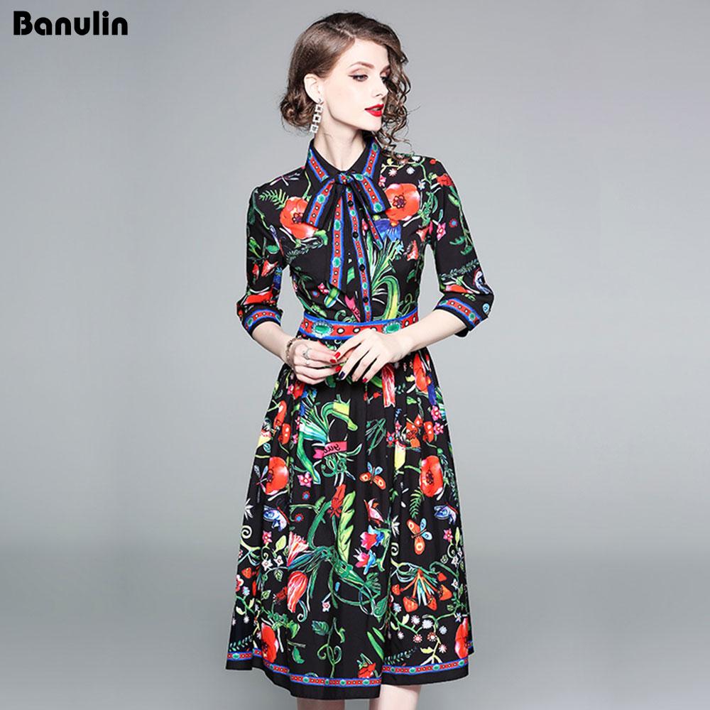 caa55b4e375e8e7 Banulin 2018 модные дизайнерские взлетно-посадочной полосы платье Весна Для  Женщин Половина рукава лента роза