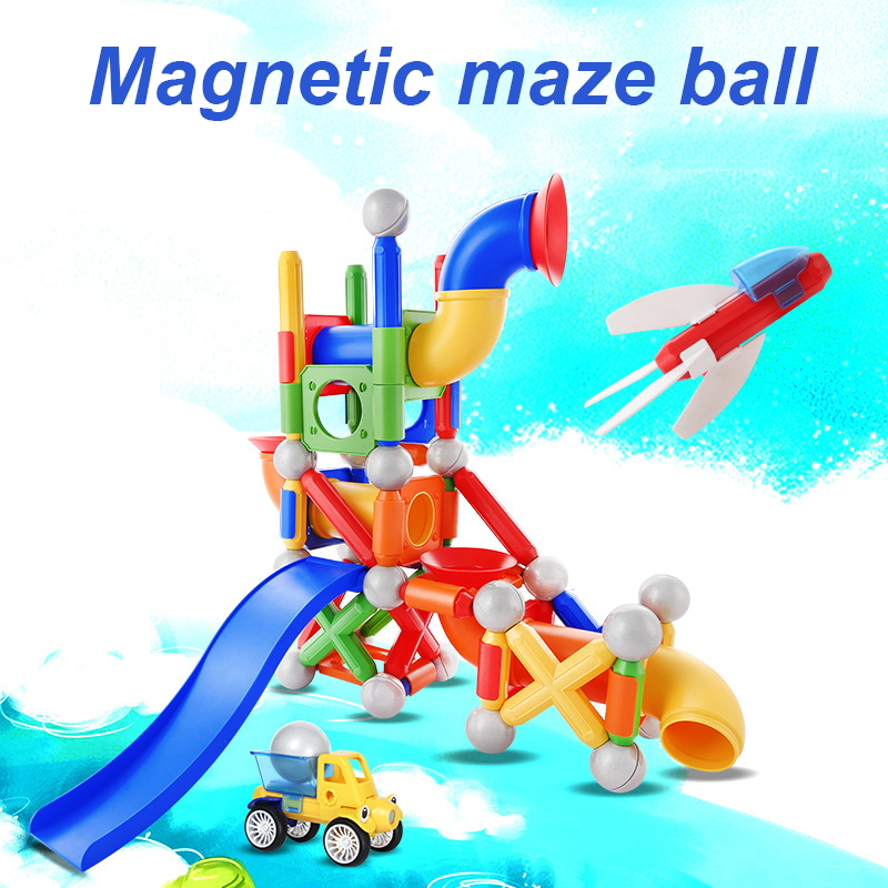 75Pcs Big Size Marble Race Run Maze Ball Track Building Blocks Magnetic Designer Construction Set Educational Toys For Kids Gift