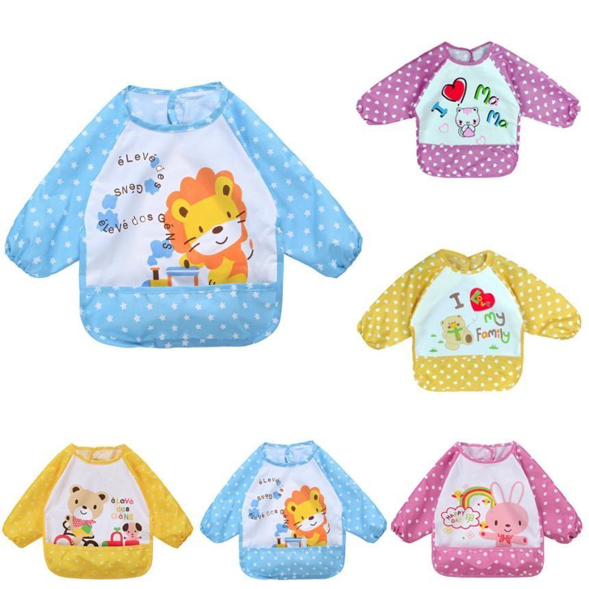 Hot New Children Baby Todders Waterproof Long Sleeve Art Smock Bibs Apron Letter Printed Feeding bebes baberos bavoir clothing