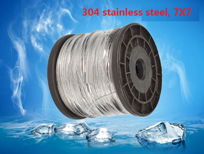 0.5MM, 0.6MM, 0.8MM, 50M, 7X7, 304 stainless steel wire rope softer fishing cable clothesline traction rope lifting lashing  wire