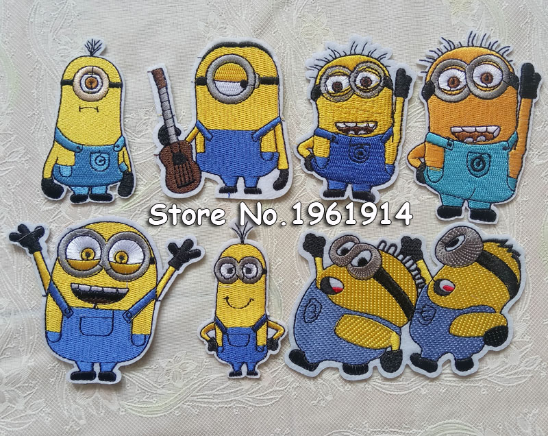 1 Pc Minions Fabric Patch Applique Child Sweater Minion Clothes Down Coat Denim Embroidery Adhesive Decoration Stickers Car