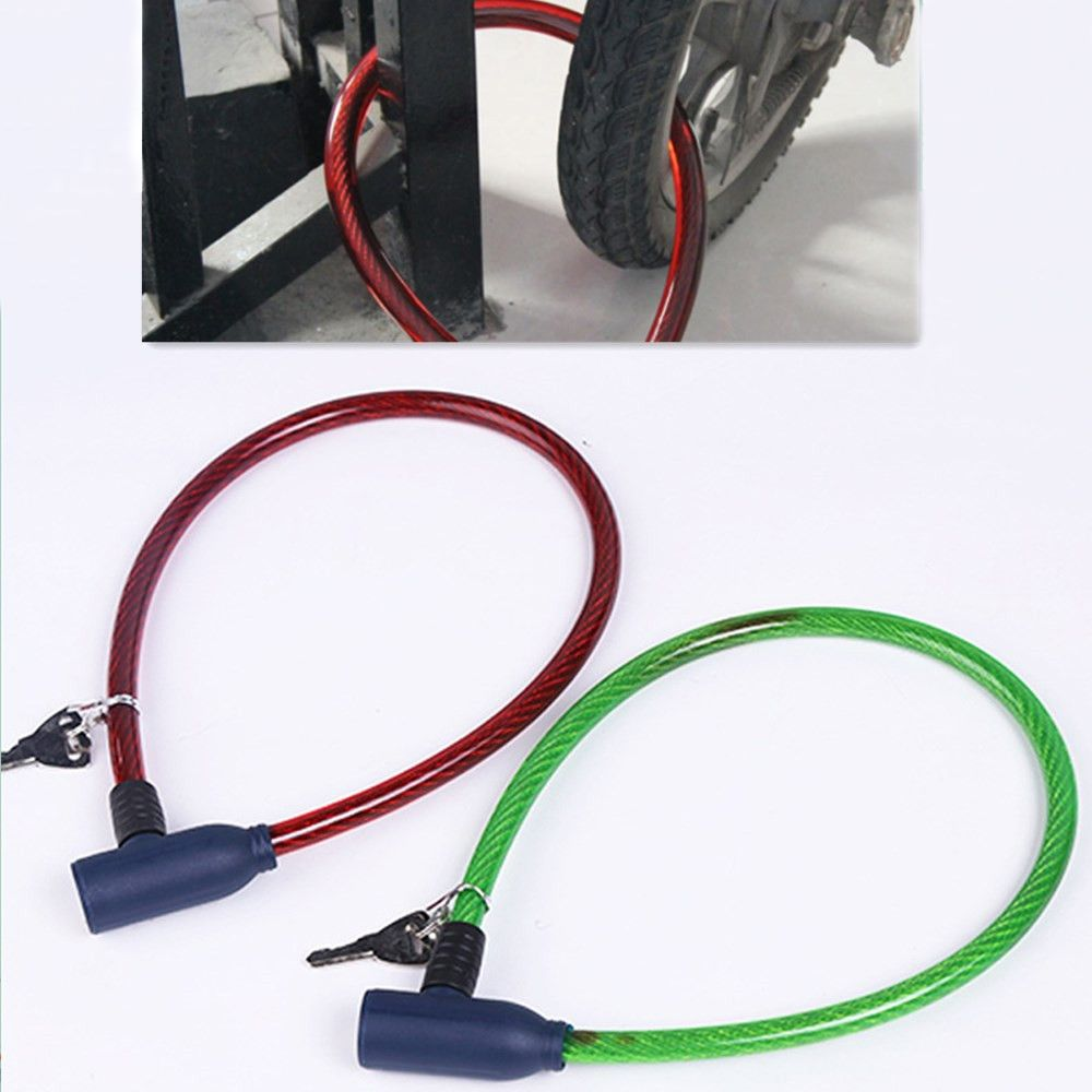 Fence Bicycle Gate Balsar Red Universal Steel Wire Metal Bicycle Anti Theft Safety Lock with 2 Keys for Bike Door Motorcycle Grill