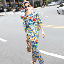 Elegant Twinset New 2016 Summer Fashion Classic Print Loose Tops + Waist Elastic Women PantsTop Grade Famous Runway Sets
