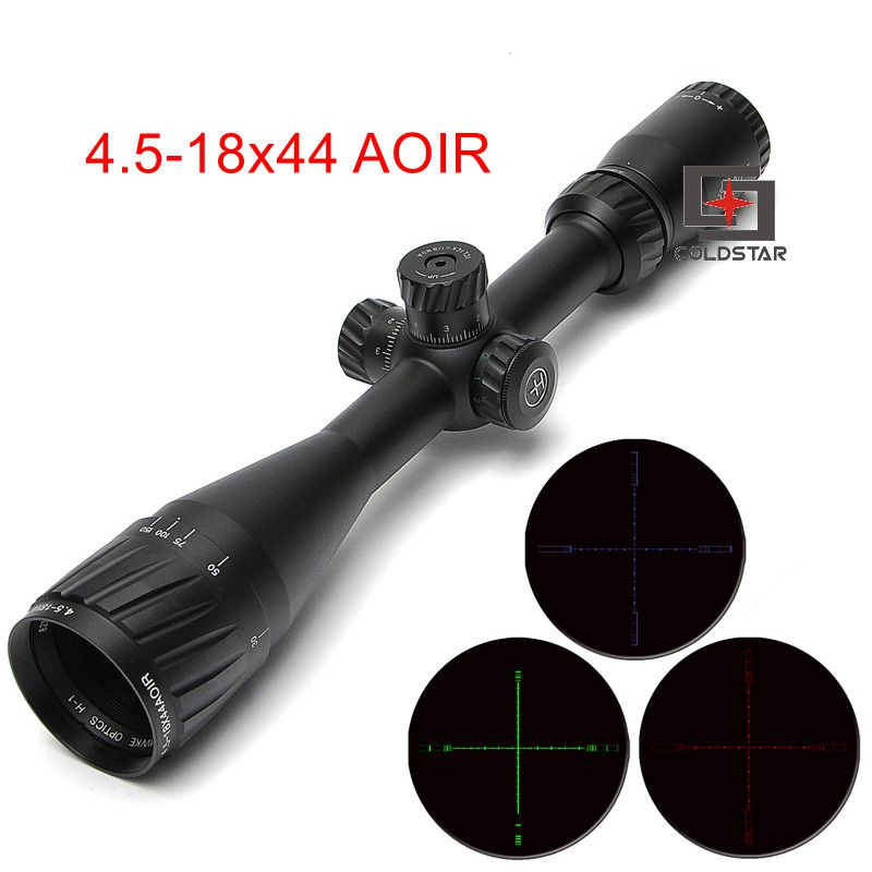 RGB Illumination 4.5-18X44 AOIR Tactical Optical Riflescope Cross Reticle Hunting Shooting Rifle Gun Scope joufou 4 16x40aol tactical rifle scope optical sights full size mil dot rgb llluminate wire reticle hunting riflescope for rifle