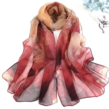 LARRIVED New Arrival 2019 Spring And Autumn Chiffon Women Scarf Polyester Geometric Pattern Design Long Soft Silk Shawl