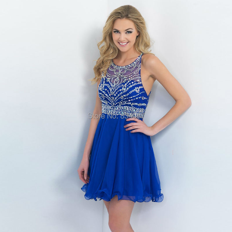 Images of Royal Blue Short Prom Dresses - Reikian