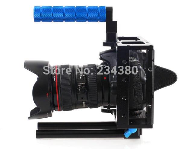 DSLR caméra Cage poignée supérieure 15 MM système de tige pour caméra vidéo 5D2 7D 60D Flash Speedlite livraison gratuite + numéro de suivi