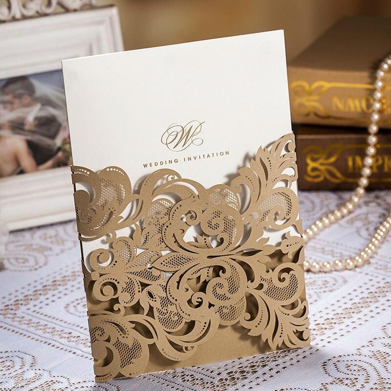 50pcs/lot Golden Laser Cut Flora Wedding Invitation Cards Hollow Bronzing  Foil Wording Party Decoration