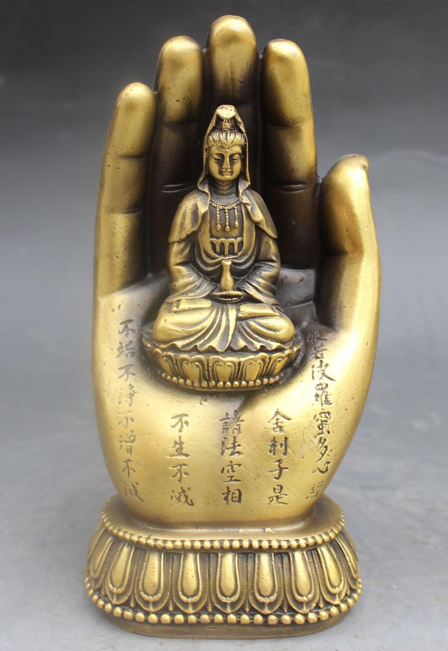 Chinese Buddhism Bronze Kwan-yin Bodhisattva Goddess Hand Buddha Statue metal handicraftChinese Buddhism Bronze Kwan-yin Bodhisattva Goddess Hand Buddha Statue metal handicraft