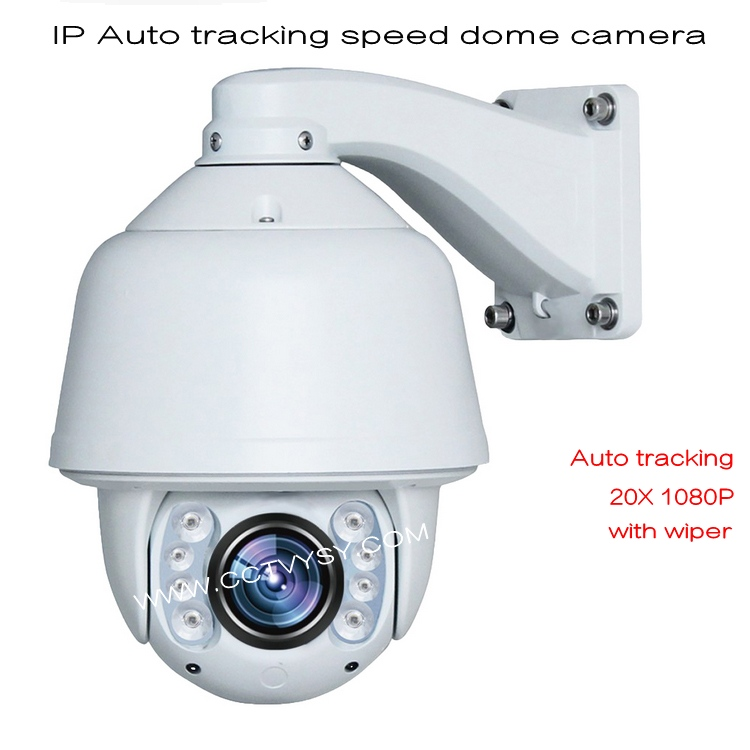 2016 new IP Speed Dome Camera HD IP 1080P 20X Zoom Auto Tracking PTZ IP Camera support hikvis software and nvr with wiper 2.0MP