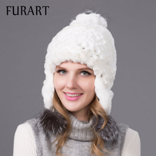Women winter rex rabbit fur hat ear protector caps knitted bomer hat 2017 fashion causal fur headgear good quality THY-08