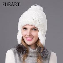 Women winter rex rabbit fur hat ear protector caps knitted bomer hat 2017 fashion causal fur headgear good quality THY-08