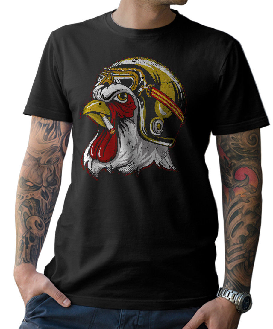 2019 Fashion <font><b>T</b></font>-<font><b>shirt</b></font> gallo BIKER - MOTO OLDSCHOOL CHOPPER <font><b>MC</b></font> CAFE RACER TESCHIO Tee <font><b>shirt</b></font> image