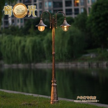 Europe vintage garden lamp post light 2 heads garden lights fixture lawn pathway pole lighting bronze/black aluminum 2M/2.3/2.5M