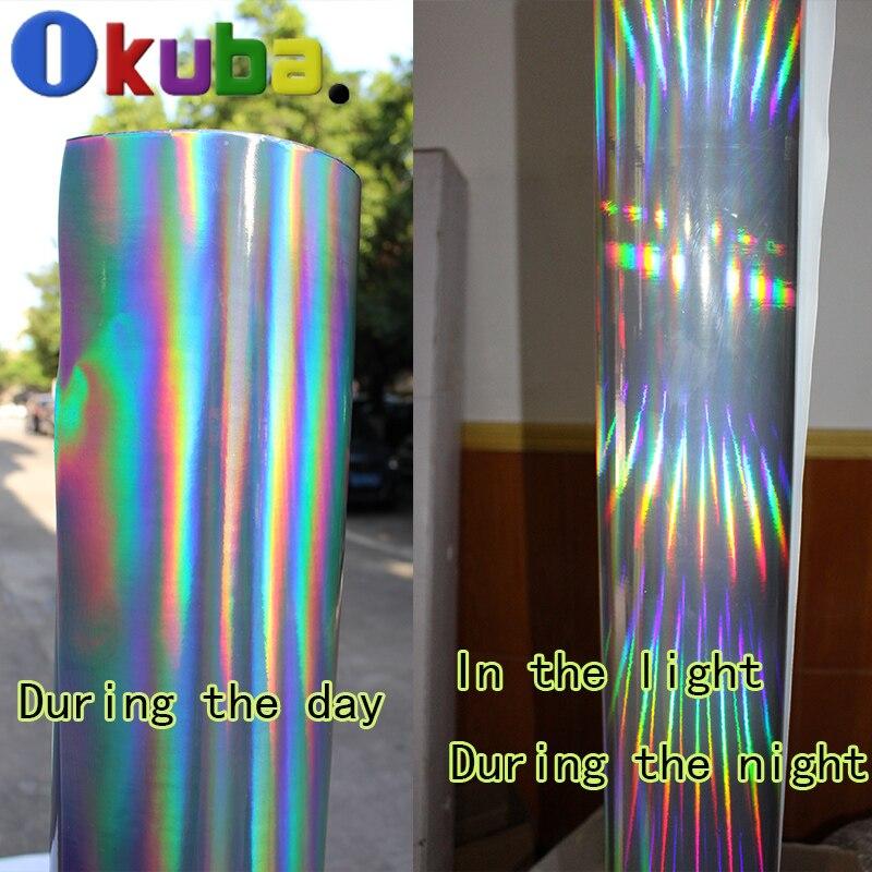 Autocollant holographique argenté de voiture de corps d'hologramme de vinyle de placage de Laser avec le Film d'arc-en-ciel de Pvc libre de bulle d'air 1.42x20 m/roll
