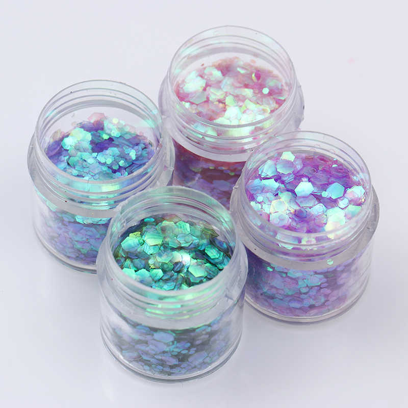 1 Set Gradien Warna-warni Kuku Payet Glitter Bubuk Set Tips Paillette Flakies Debu DIY 3D Dekorasi Nail Art Kit 10ml