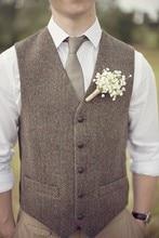 2017 British Style Brown Wool Tweed Vest Men's Suit Vest Slim fit Groom Vest Vintage Wedding Waistcoat Mens Dress Vest Plus Size