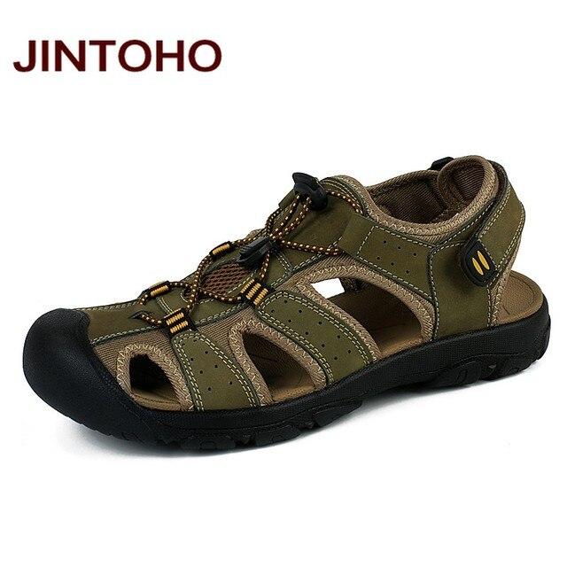 baaa65748a JINTOHO Plus Size Sandálias Masculinas de Couro Genuíno Moda Masculina  Chinelos Sandálias Homens Sapatos De Água