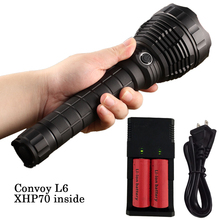 Convoy L6 Flashlight XHP70 Led Inside Night Light for Outdoor Camping Fishing Hunting with 2*26650 Battery & Charger