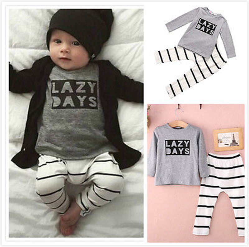 2pcs Toddler Baby Girl Boy Long Sleeve T-shirts Top Striped Pants Outfit Clothing Set 3-24M