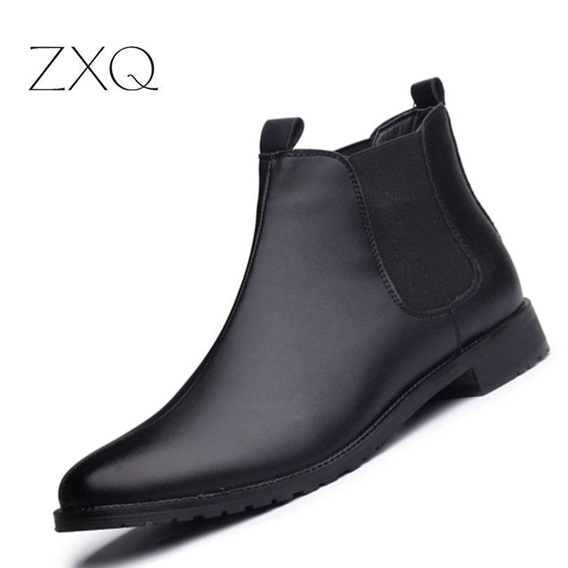 Новое поступление мужские полусапоги Повседневное ботинки черного цвета Мужская обувь Высокое качество Модная обувь «челси» осень слипон...