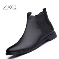 New Arrival Men Ankle Boots Casual Black Boots Men Shoes High Quality Fashion Chelsea Boots Autumn Slip On High Botas Hombre