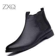 Новинка мужские полусапоги Повседневное ботинки черного цвета Мужская обувь Высокое качество Модная обувь «челси» осень слипоны высокие сапоги для мужчин