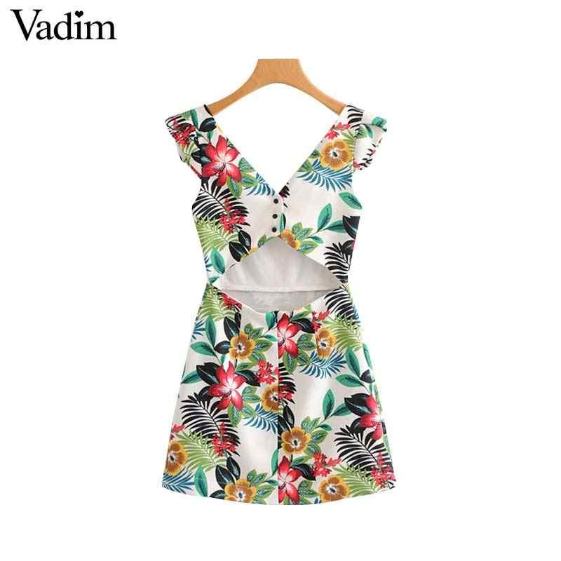 Vadim женское сексуальное платье с v-образным вырезом и цветочным узором, без рукавов, с вырезом сзади, женские летние повседневные шикарные мини-платья, vestidos QA087