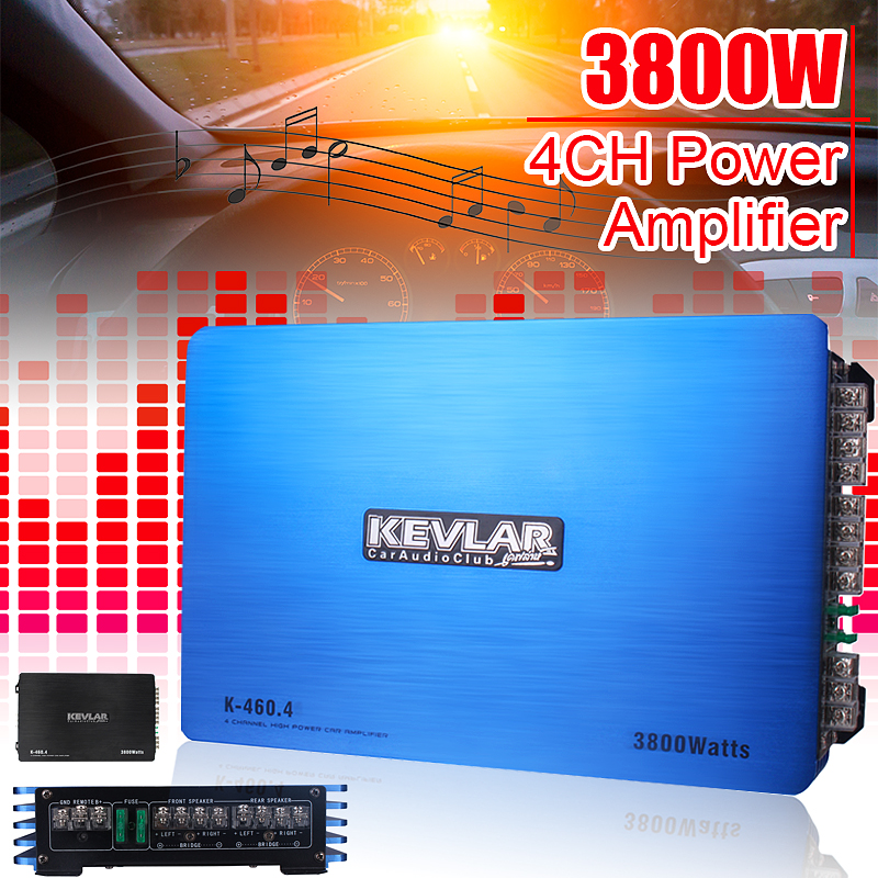 Power HiFi Amplifier 4CH 3800W Audio Stereo 12V Amp Speaker 2 ohm Stable Circuits Bass Booster Tri-mode Output for KTV Home Car цена