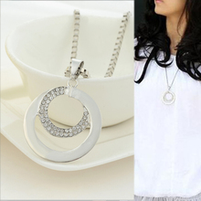 Fashion Double Round Silver Long Chain Pendant Sweater Necklaces Best Selling Boho Metal Large Necklace Jewelry
