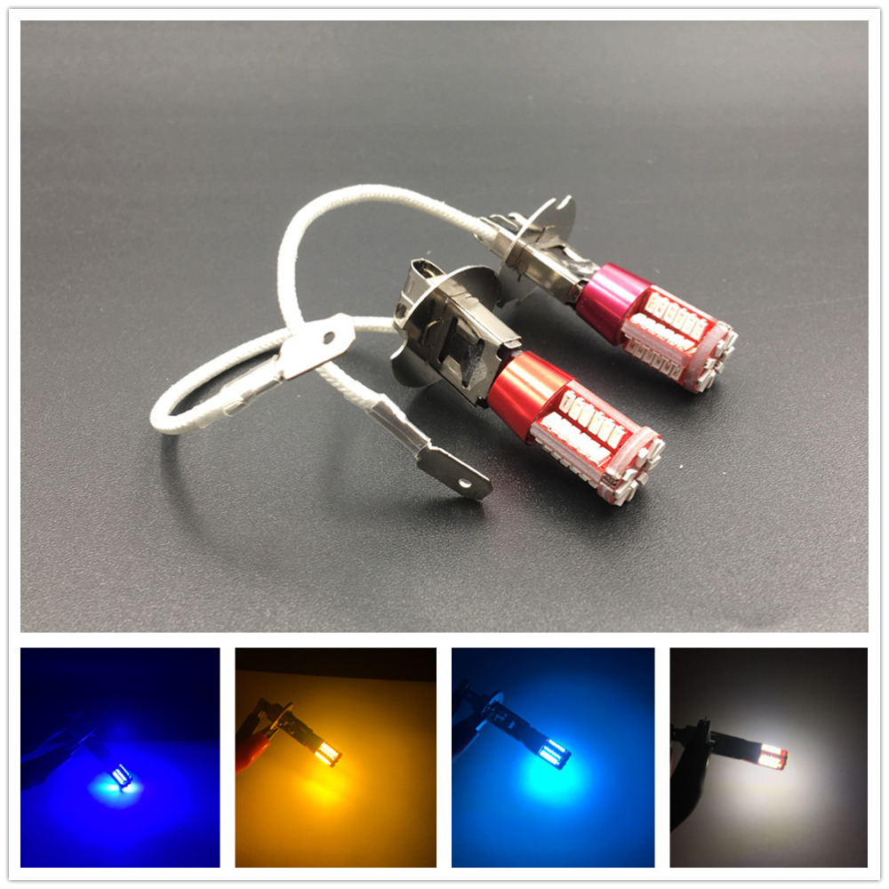 2x H3 Super Bright White 57 Led 3014 Smd Bulb Car Fog Lamp Light Daytime Running Auto Source Parking Amber Blue