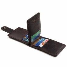 JOYIR Vintage Crazy Horse Leather Men Credit Card Holder Hasp Genuine Business Purses Wallets Cards Holders K001