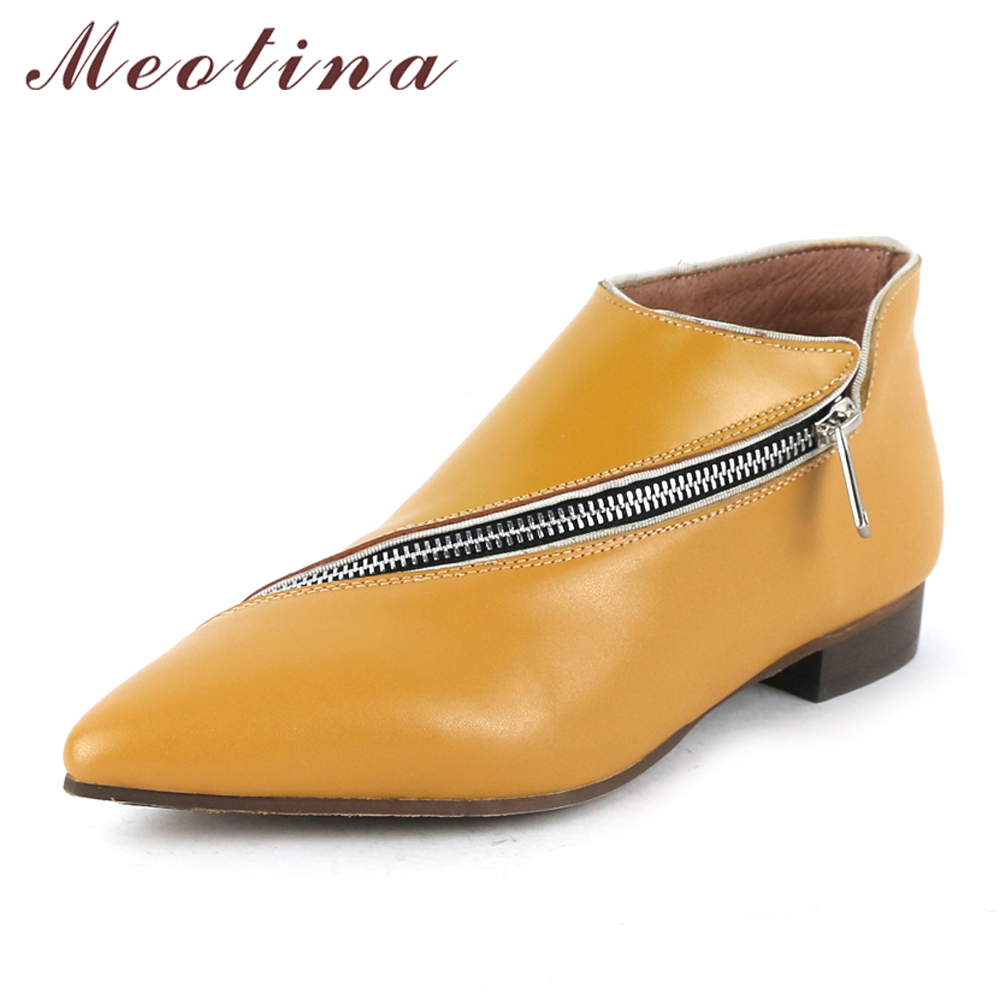 Meotina Genuine Leather Shoes Women Oxfords Shoes Pointed Toe Female Flats Zipper Handmade Shoes Ladies Footwear Black Yellow meotina women flat shoes ankle strap flats pointed toe ballet shoes two piece ladies flats beading causal shoes beige size 34 43