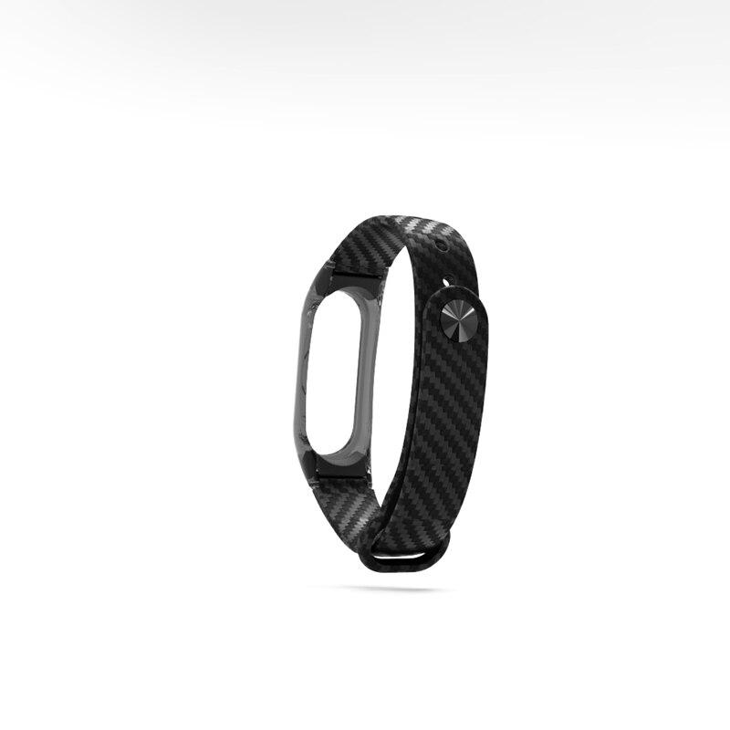 HANGRUI Crystal Plastic+Carbon Fiber silicon strap For xiaomi Mi band 2 Smart Wrist Bracelet Extended plus Strap Replacement  (15)