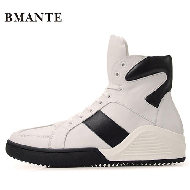 43bc99ea2a4 Moda couro Real casual calçado vermelho Branco preto masculino krasovki  bambas Bieber bota Alta sapato formadores