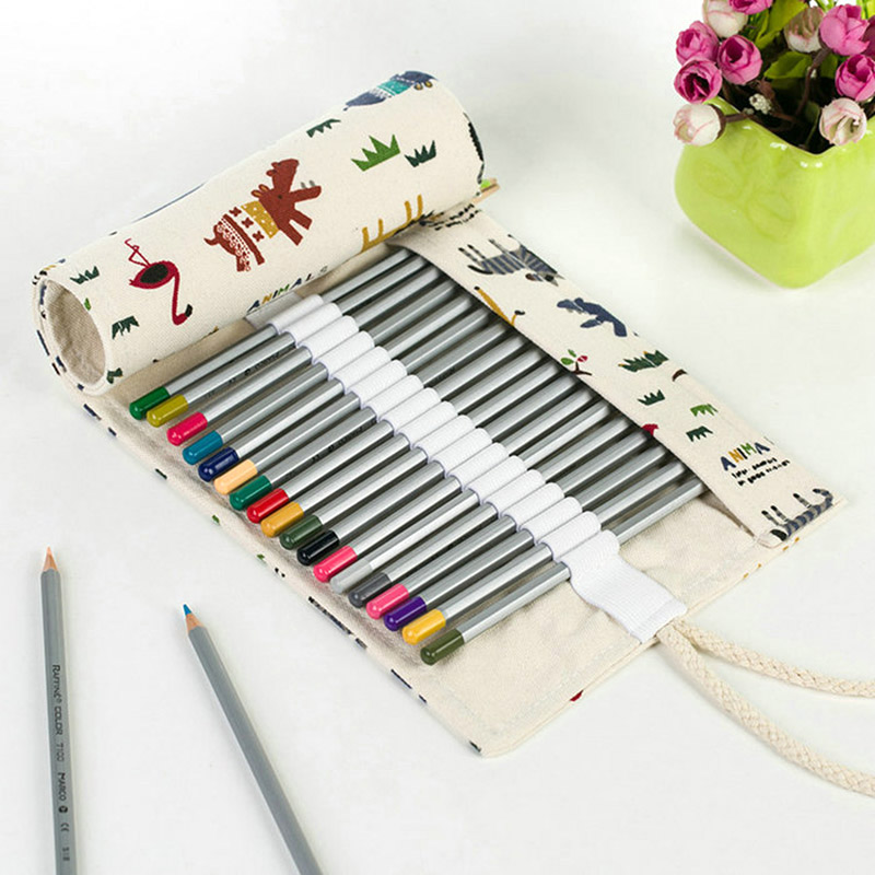 36 48Hole Handmade Canvas School Pencil Case Roll Pouch Makeup Comestic Brush Pen Storage Pecncil Box Estuches School Stationery good quality 36 48 72 holes canvas pencil case roll up sketch painting pen box school office pencil stationery bag b066
