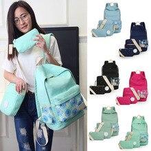 3 шт./компл. печати рюкзак Для женщин Школьные сумки холст хризантемы принты для подростков Обувь для девочек АГД fa $ B