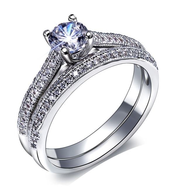 Hot Bridal Wedding Engagement Ring Women Classic Design Vintage Jewelry  Fashion Beautiful 2 Pieces Stacking Ring