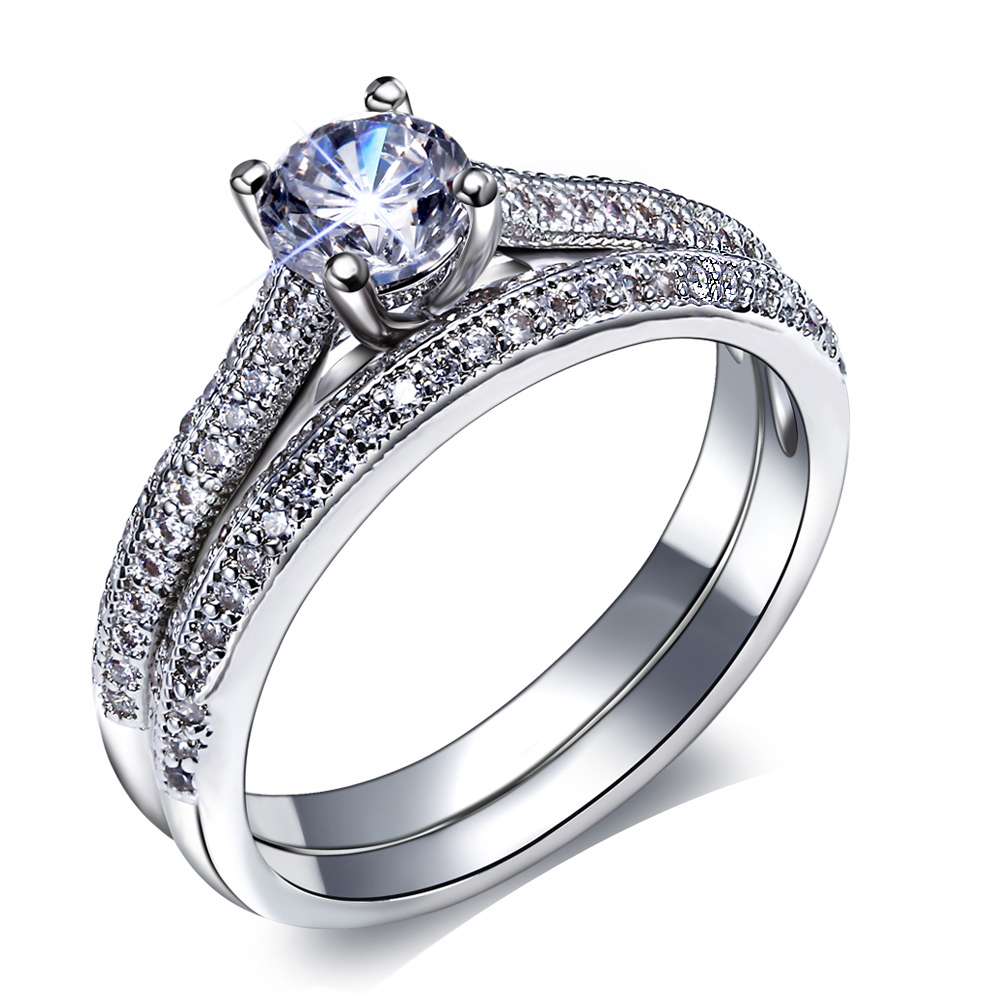 New Bridal Wedding Rings Set Engagement Ring Women Classic Design Vintage Jewelry Fashion ...