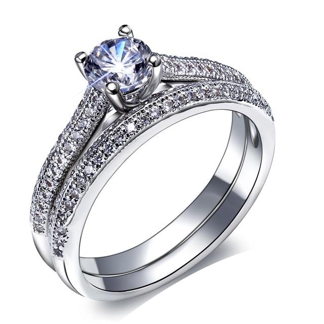 New Bridal Wedding Rings Set Engagement Ring Women Classic Design Vintage Jewelry Fashion Beautiful 2 Pcs